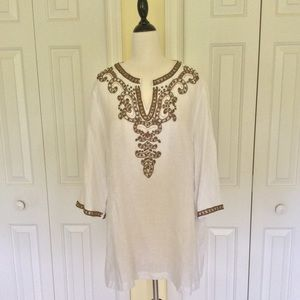 Chico's Linen Beaded Tunic Top